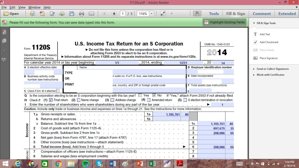 Accounting help with tax forms